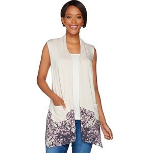 NWT Knit Vest with Printed Trim and Pockets